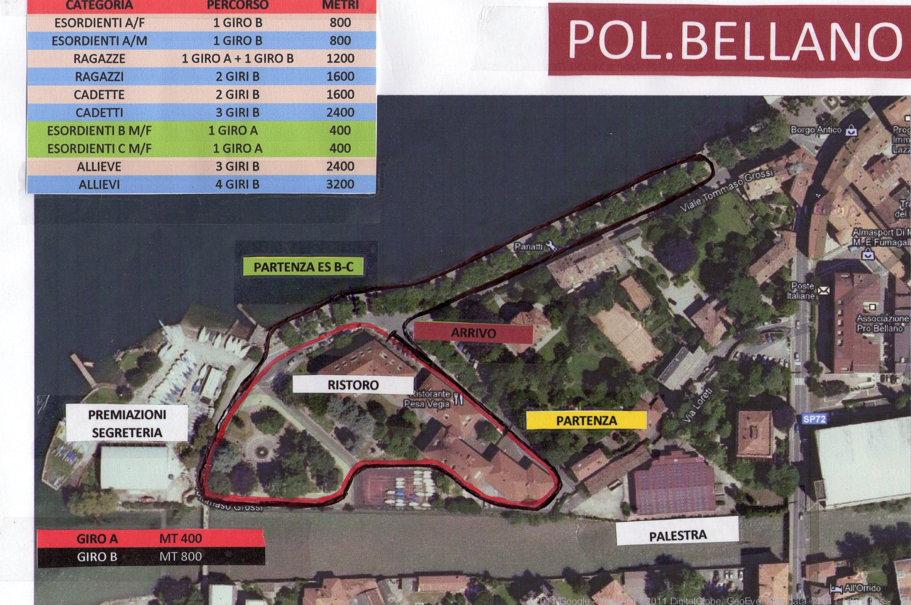 Percorso corsa su strada - Bellano - 14 Ottobre 2012
