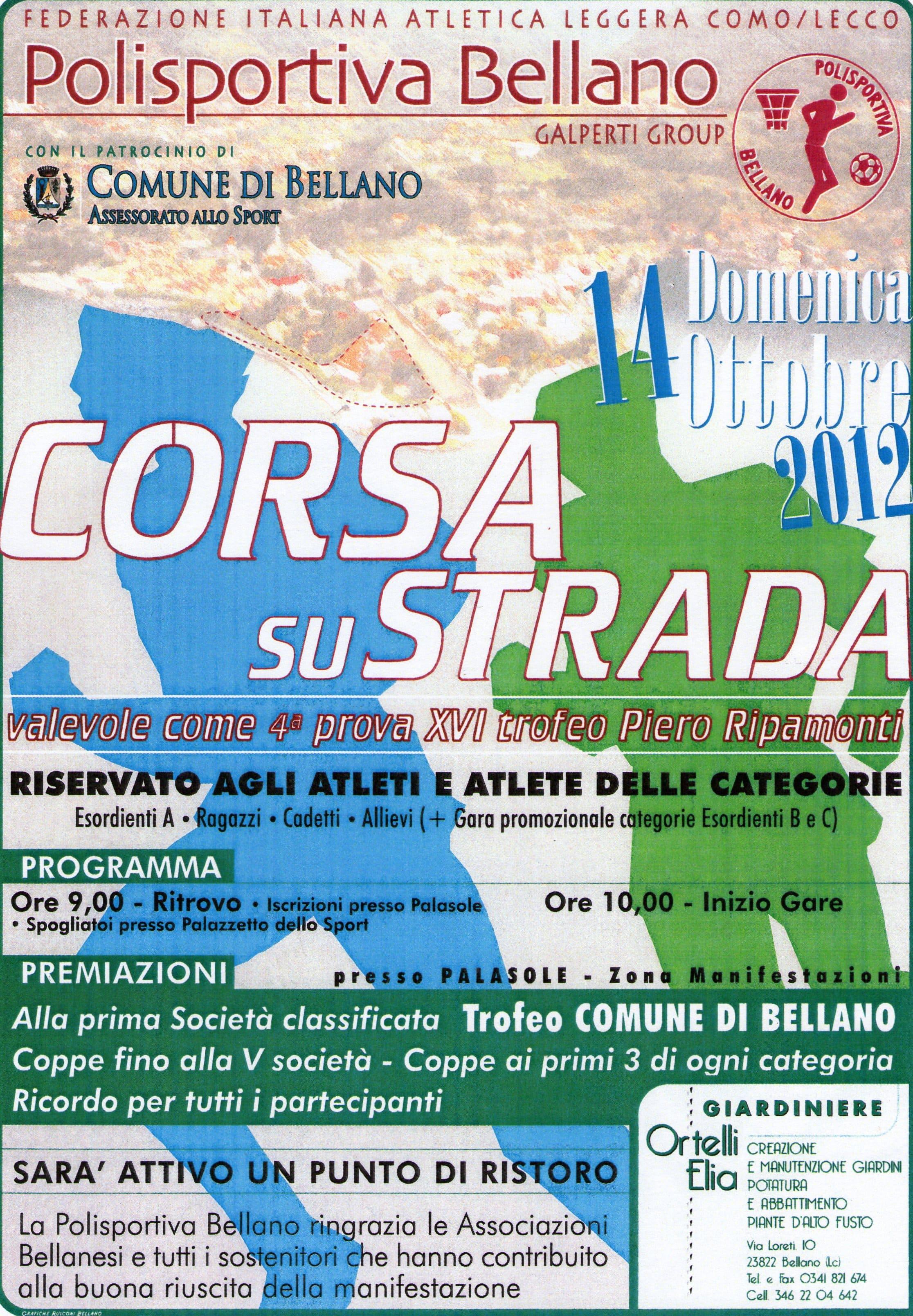 Locandina corsa su strada - Bellano - 14 Ottobre 2012